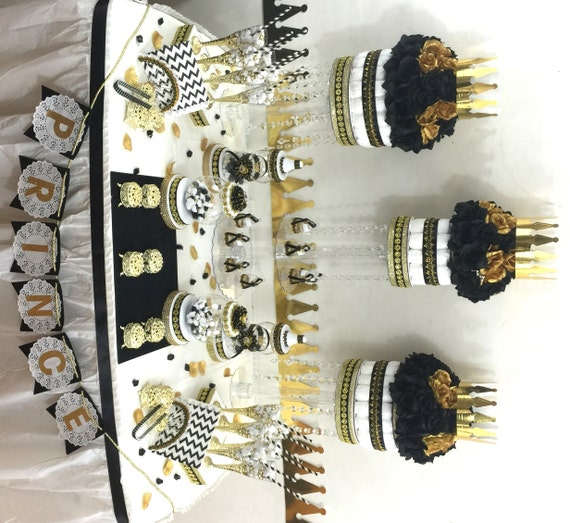 Candy For Baby Shower Ideas: BLACK And GOLD Baby Shower Candy Buffet Centerpiece With
