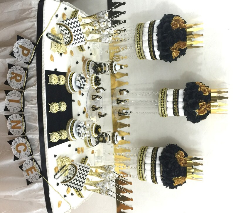 Black And Gold Baby Shower Candy Buffet Centerpiece With Baby Shower Favors Boys Black And Gold Prince Baby Shower Theme And Decorations