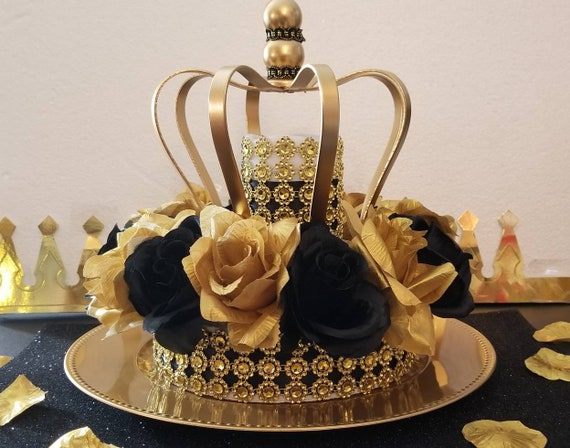 Black And Gold Baby Shower Crown Centerpiece Girls Royal Etsy