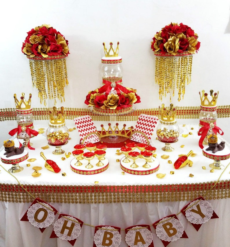 Fabulous Red And Gold Baby Shower Candy Buffet Table Centerpiece Boys Red And Gold Royal Prince Baby Shower Theme And Decorations Home Interior And Landscaping Eliaenasavecom