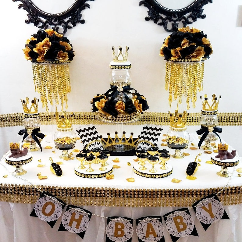 Black And Gold Prince Baby Shower Candy Buffet Centerpiece With Baby Shower Favors Black And Gold Baby Shower Theme Decorations