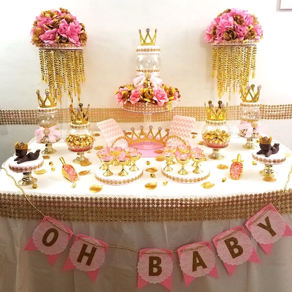 Lovely Princess Baby Shower Candy Buffet Centerpiece With Baby Shower