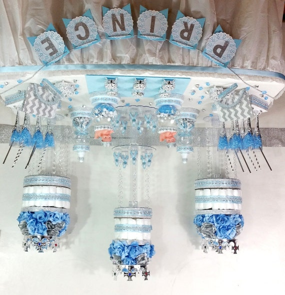 Baby Blue And Silver Candy Buffet Diaper Cake Centerpiece