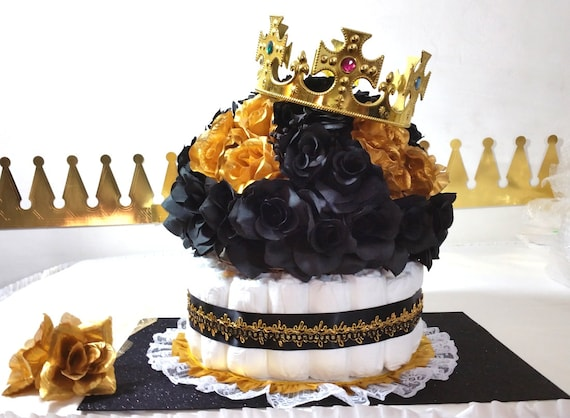 Black Gold Diaper Cake Centerpiece For Prince Baby Shower Etsy