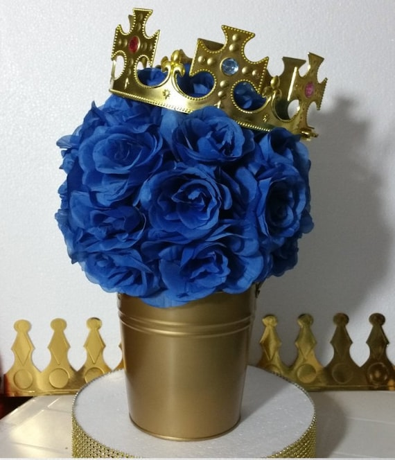 Flower Pail Royal Prince Baby Shower Table Centerpiece Boys Royal
