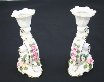 Vintage Lefton Candlestick Holders Numbered and Hand Painted