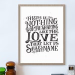 The Love That Let Us Share Our Name Avett Brothers Wall Art, Song Lyrics Print, Music Art for Home, Living Room Wall Decor, Family Sign