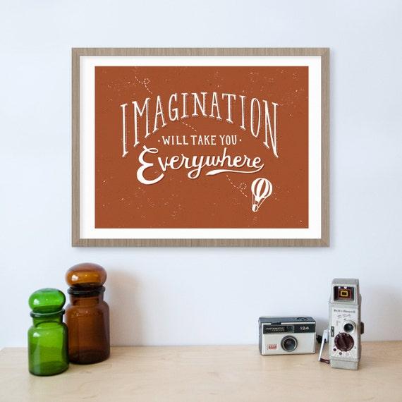 Imagination Hot Air Balloon Inspirational Quote Print Nursery Etsy