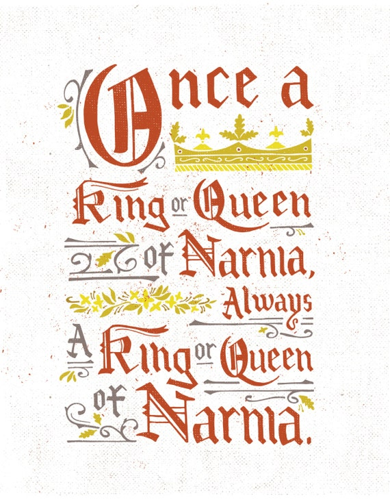 Narnia Quotes, Narnia Art, King and Queen, Childrens Book Art, Queen Crown,  King Crown, Christian Wall Art, Christian Gifts, CS Lewis