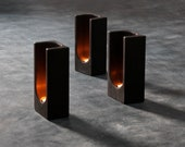 Group of 3 Charred Wood Tealight Totem by Plywood Office - Limited Edition of Shou Sugi Ban Tealight Totem