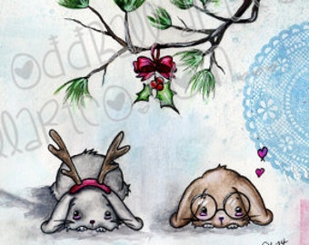 INSTANT DOWNLOAD Digi Stamp Digital Image Kawaii Christmas Bunnies Under the MistleToe ~ Jenny & Frank Image No. 139 by Lizzy Love