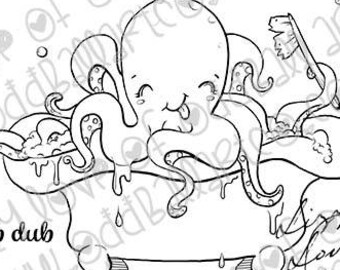 Digital Stamp Instant Download Cute & Whimsical Happy Bathing Octopus Art ~ Creature Cleaning Image No. 422 by Lizzy Love