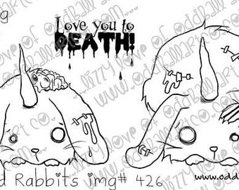 Digital Stamp Instant Download Creepy Cute Zombie Bunnies ~ Rancid Rabbits Image No. 426 by Lizzy Love