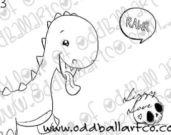 Digital Stamp Instant Download Cute Whimsical Dino ~ Baby D-no  Image No. 413 by Lizzy Love