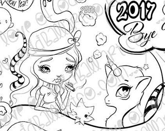 Digital Stamp Instant Download Creepy Cute & Whimsical New Years Illustration ~ Eat Our 2017 Dust Image No. 420 by Lizzy Love