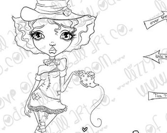 INSTANT DOWNLOAD Whimsical Big Eye Alice In Wonderland Stamp - Madhatter  Image No.328 by Lizzy Love