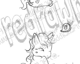 INSTANT DOWNLOAD Big Eye / Winking Unicorn Digital Stamp - Unicorn Image No. 10 a & b by Lizzy Love