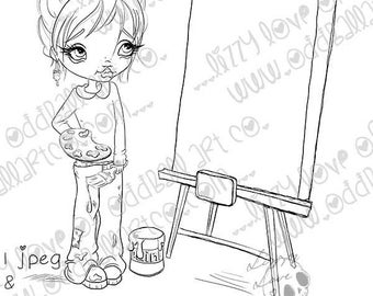 INSTANT DOWNLOAD Big Eye Female Artist with Blank Canvas Digital Stamp - Alice the Artist Image No.381 by Lizzy Love