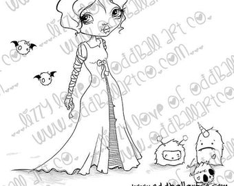 Digital Stamp Instant Download Creepy Cute & Whimsical Big Eye Creature Art ~ Bridal Party Image No. 421 by Lizzy Love