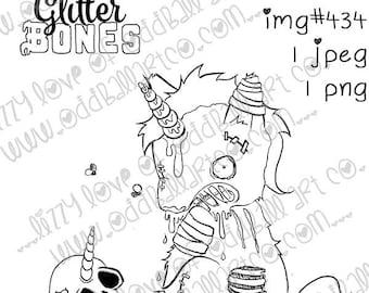INSTANT DOWNLOAD Digital Stamp Creepy Cute Zombie Unicorn & Skull  - Glitter Bones Image No.434 by Lizzy Love