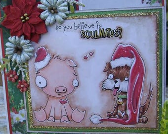 Digital Stamp Instant Download Whimsical Christmas Animals ~ Soulmates Image No. 391 by Lizzy Love