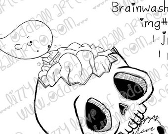 INSTANT DOWNLOAD Digital Stamp Creepy Cute Ghoul & Skull Brain  - Brainwashing Image No.435 by Lizzy Love