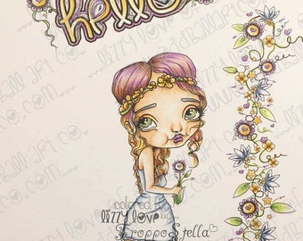 INSTANT DOWNLOAD Digi Stamp Digital Image Whimsical Big Eye Girl Noora Image No.244 by Lizzy Love