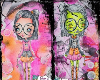Digital Stamp Instant Download Creepy Cute Zombie & Pre Zombie Big Eye Girl ~ Haunted Hearts Image No. 427 by Lizzy Love