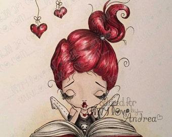 Digi Stamp Digital Instant Download Big Eye Girl ~ Bonnie Bookworm Image No. 24 & 24B by Lizzy Love