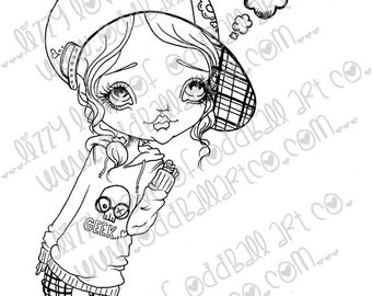 INSTANT DOWNLOAD Digi Stamp Big Eye Girl Eve Has Something To Say Image No. 127 & 127B by Lizzy Love
