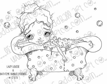 INSTANT DOWNLOAD Digi Stamp Big Eye Girl Bathes In Polka Dot Tub ~ Lazy Louise N Bathtime Bubble Friends Image No. 121 & 121B by Lizzy L