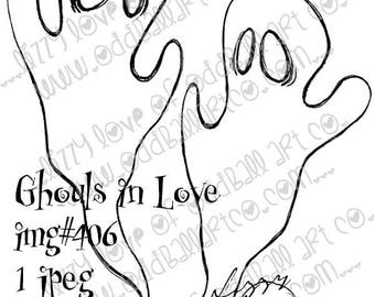 Digital Stamp Instant Download Whimsical Halloween ~ Ghouls in Love Image No. 406 by Lizzy Love