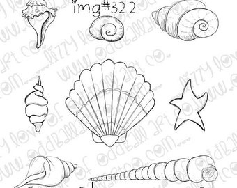 INSTANT DOWNLOAD Whimsical Seashell Set Digital Stamp -  Image No.322 by Lizzy Love