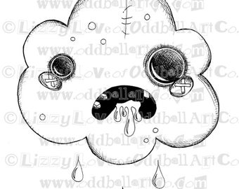 Digi Stamp Digital Instant Download Creepy Cute Zombie Cloud Image No. 63 by Lizzy Love