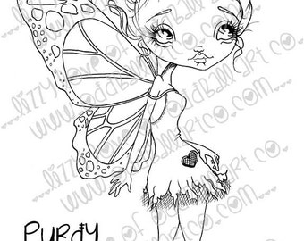 INSTANT DOWNLOAD Digi Stamp Digital Big Eye Butterfly Fairy ~ Purdy Butterfly Image No.164 & 164B by Lizzy Love