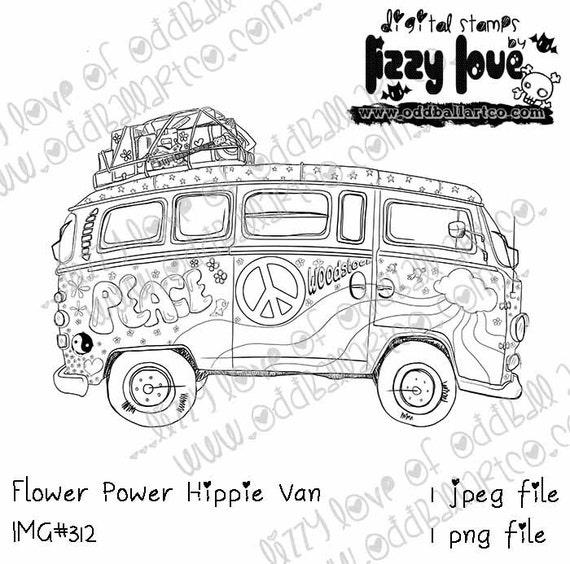 Descarga inmediata Digi Stamp Hippie Flower Power paz Van   Etsy