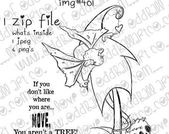 Digital Stamp Instant Download Baby Dragon Girl Sugar Puff Finds the Forest ~  Image No. 401  by Lizzy Love