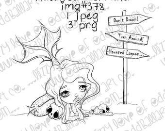 Digi Stamp Big Eye Art Digital Instant Download Kawaii Creepy Cute ~ Haunted Mermaid IMG No. 378 by Lizzy Love
