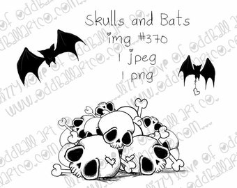 INSTANT DOWNLOAD Creepy Cute Pile of Skulls Digital Stamp - Skulls and Bats Image No.370 by Lizzy Love
