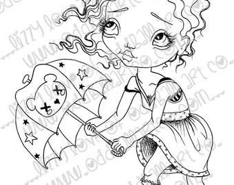 Digi Stamp Digital Instant Download Big Eye Girl ~ Stormy Image No. 13 & 13B by Lizzy Love