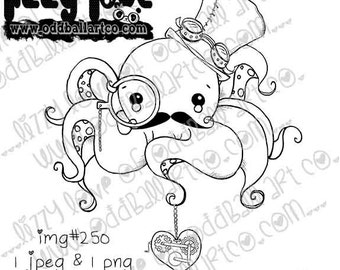 INSTANT DOWNLOAD Digi Stamp Kawaii Steampunk Octopus ~ Freddie 'Legs' Wise-Key Image No.250 by Lizzy Love