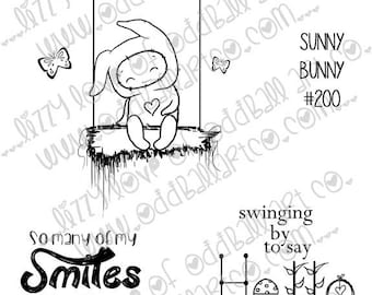 INSTANT DOWNLOAD Digi Stamp Kawaii Spring Bunny on a Swing w/ Butterflies Hearts & Sentiments ~ Sunny Bunny Image No 200 by Lizzy Love