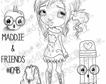 INSTANT DOWNLOAD Digi Stamp Digital Big Eye Back To School Girl and Friends ~ Maddie N Friends Image No.109 & 109B by Lizzy Love