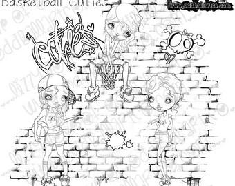 Digi Stamp Instant Download Big Eye Girl Digital Art ~ Ya Going Down Basketball Cuties Image No. 278 by Lizzy Love