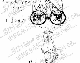 INSTANT DOWNLOAD Includes Sentiment Kawaii Unicorn Chibi Girl ~ Jaz So Sweet N Sour No.268 [A & B] by Lizzy Love