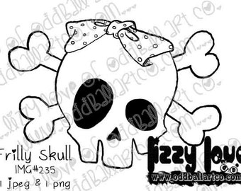 INSTANT DOWNLOAD Digi Stamp Digital Image Whimsical Frilly Skull with Bow Image No.235 by Lizzy Love