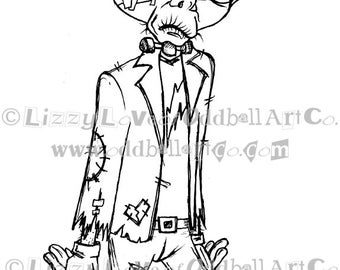 Digi Stamp Digital Instant Download Creepy Cute Frankenstein Image No. 92 by Lizzy Love