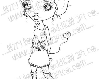 INSTANT DOWNLOAD Digi Stamp Digital Image Whimsical Big Eye Girl with Heart Sunni Image No.175 & 175B by Lizzy Love