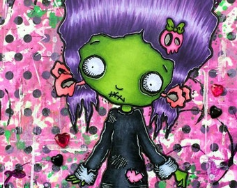 Digi Stamp Digital Instant Download Big Eye Zombie Chibi Girl Image No. 53 by Lizzy Love