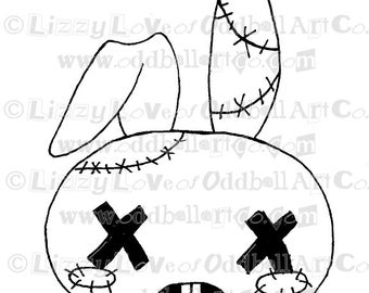 Digi Stamp Digital Instant Download Zombie Bunny Image No. 56 by Lizzy Love